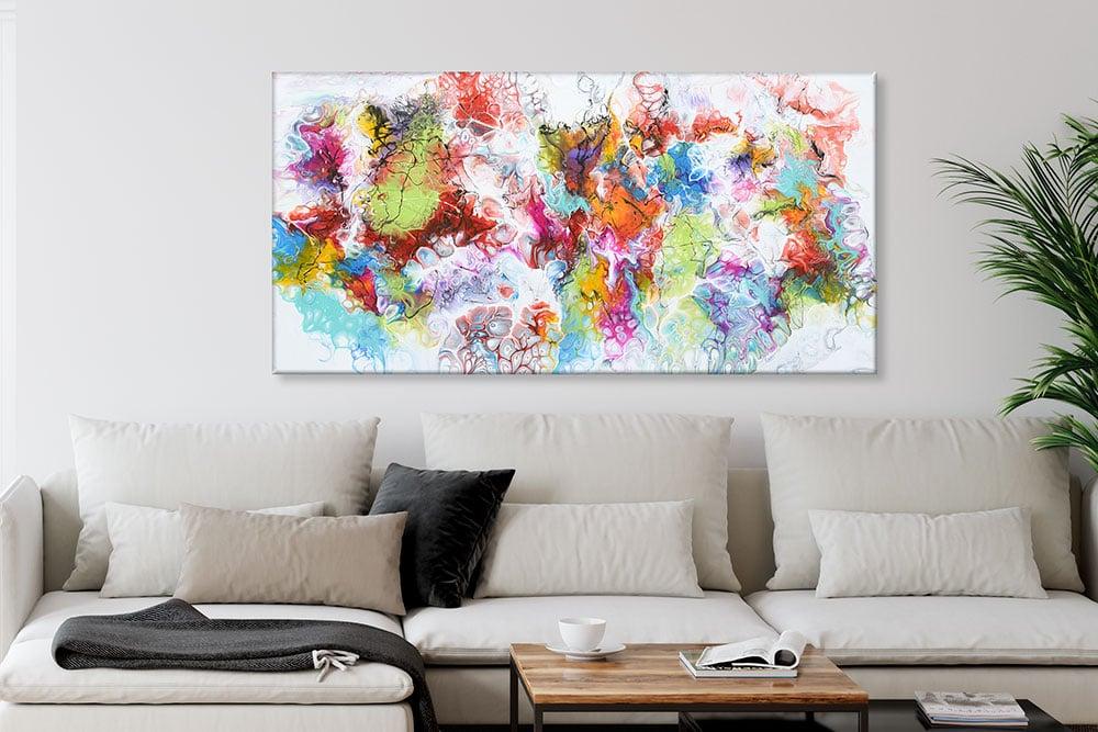 Kunst tryk på lærred er perfekt til væggen i stuen Fusion I 70x140 cm