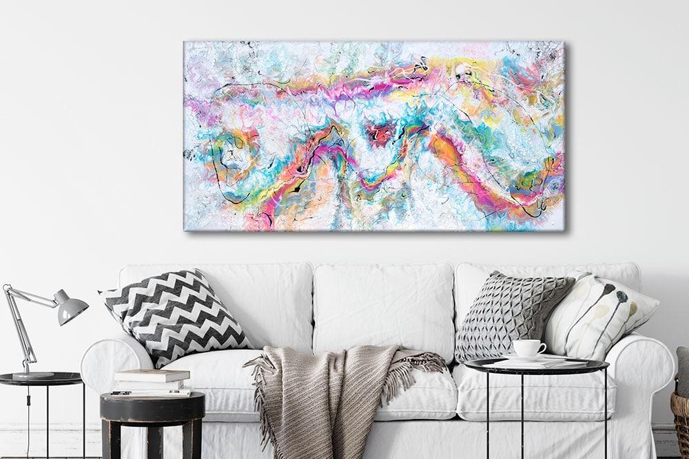 Moderne kunstmaleri i flotte farver til væggen i stuen Transparency I 70x140 cm