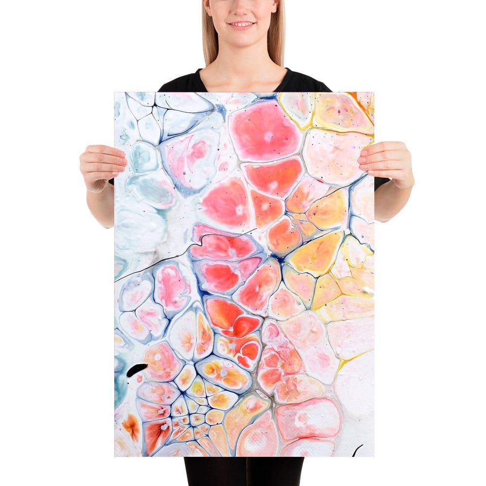 Moderne kunstprint med masser af flotte røde og gule farver Elevation III 50x70 cm