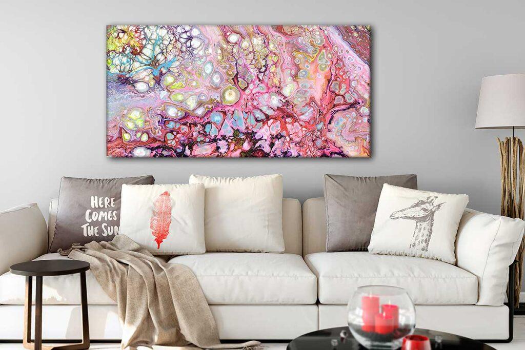 Moderne lærredstryk af et abstrakt kunstmaleri til væggen Passion I 70x140 cm