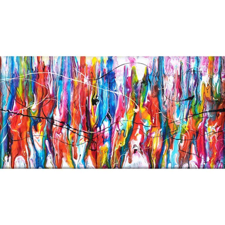 Stort lærredsprint med moderne farver i originalt kunstdesign Heroic II 70x140 cm