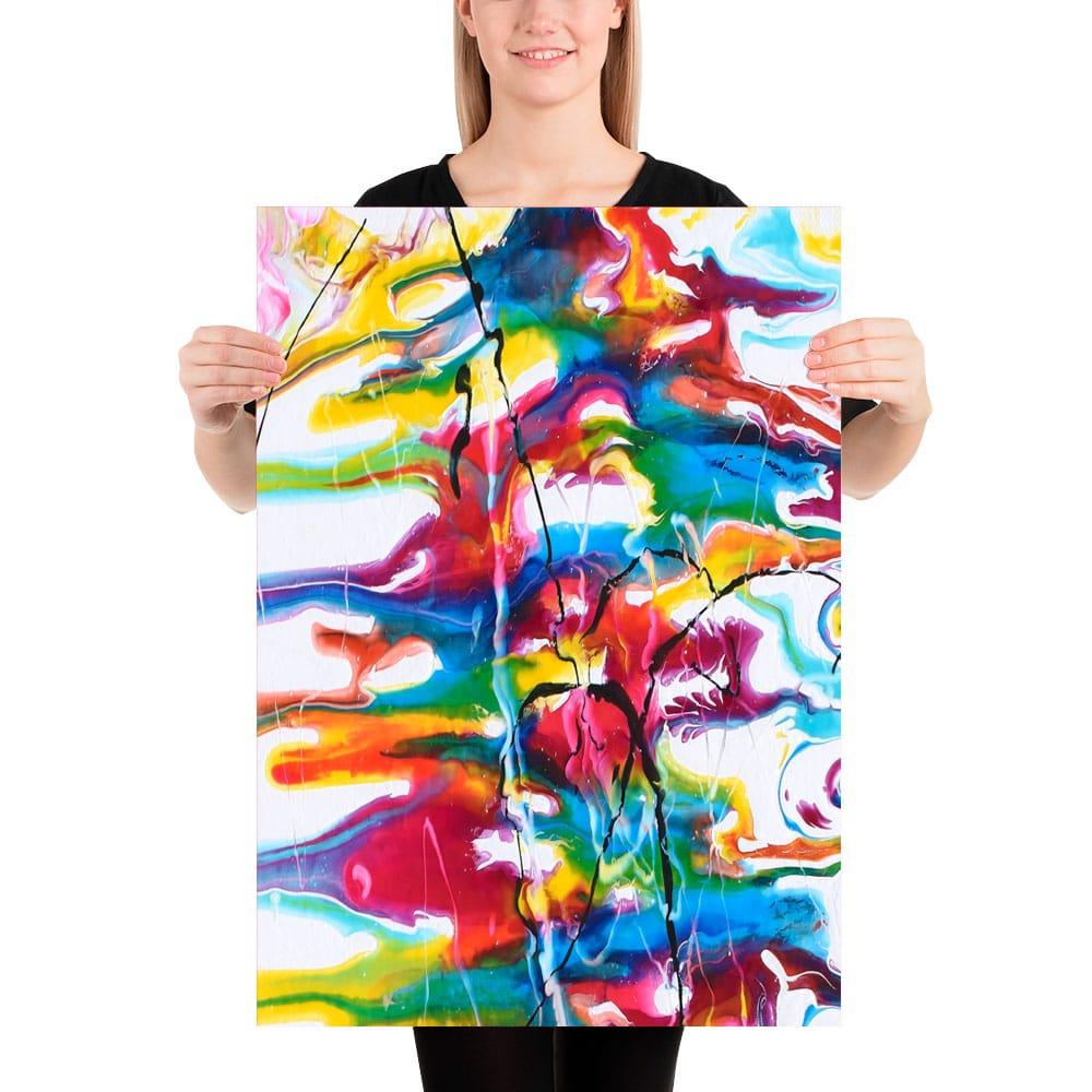 Udtryksfuld farverig plakat med moderne kunst Heroic I 50x70 cm