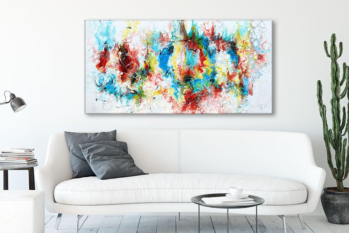 Farverig kunst på lærred i moderne stil til væggen over sofaen Pulse II 70x140 cm
