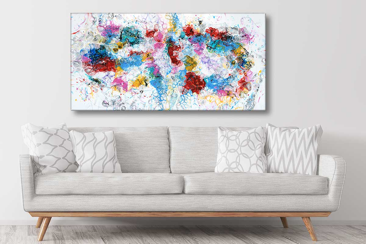 Stort billede med akryl på lærred til din væg over sofaen Unbound III 70x140 cm