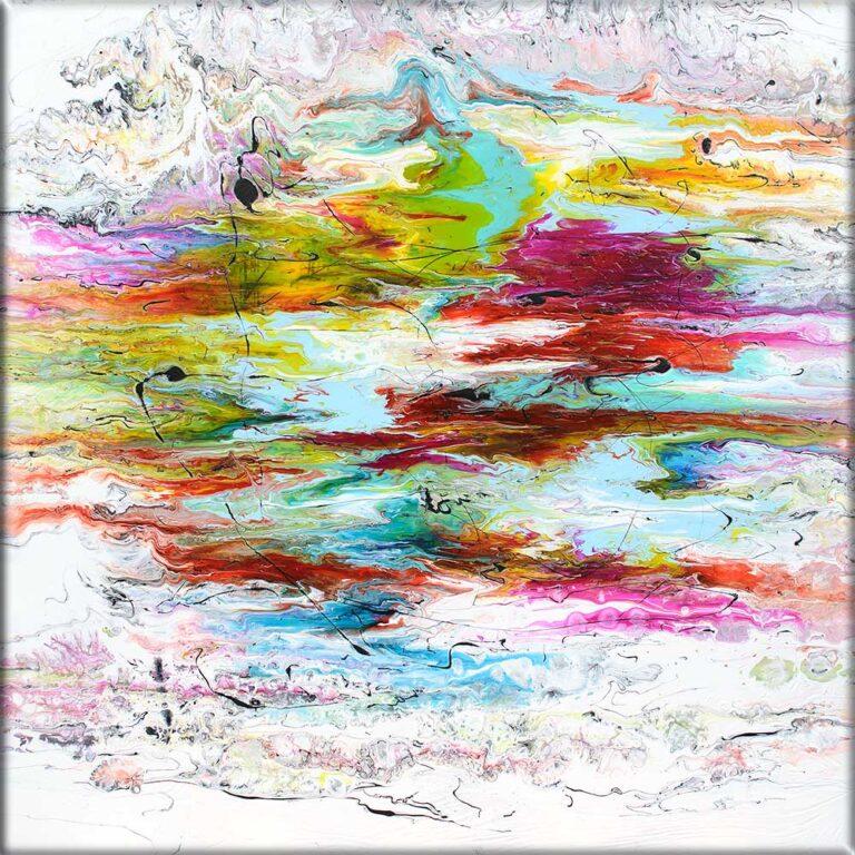 Moderne maleri med et abstrakt design i pragtfulde farver Heroic IV 100x100 cm