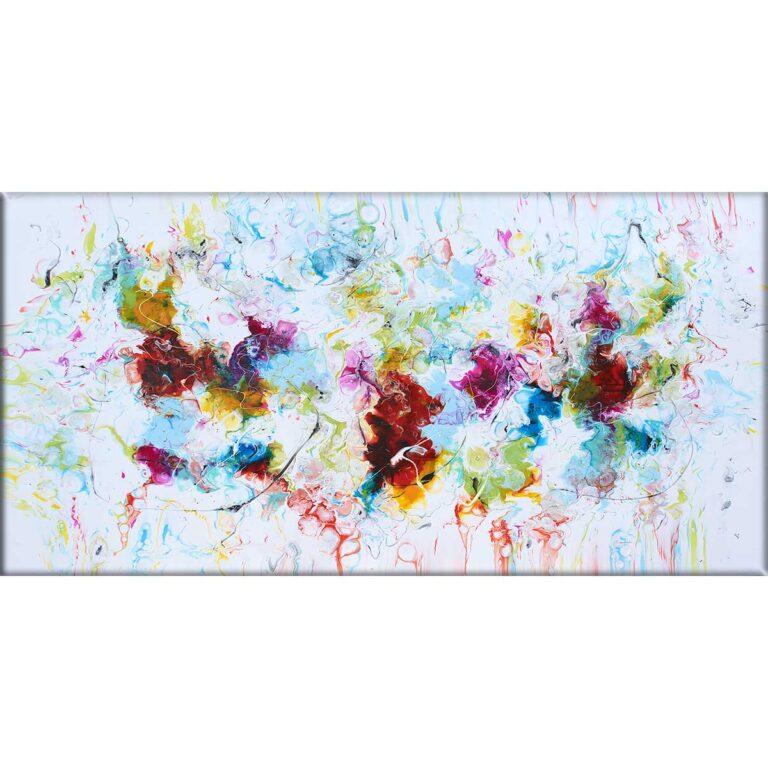 Stort maleri i flotte abstrakte farver til stuen Stellar III 70x140 cm