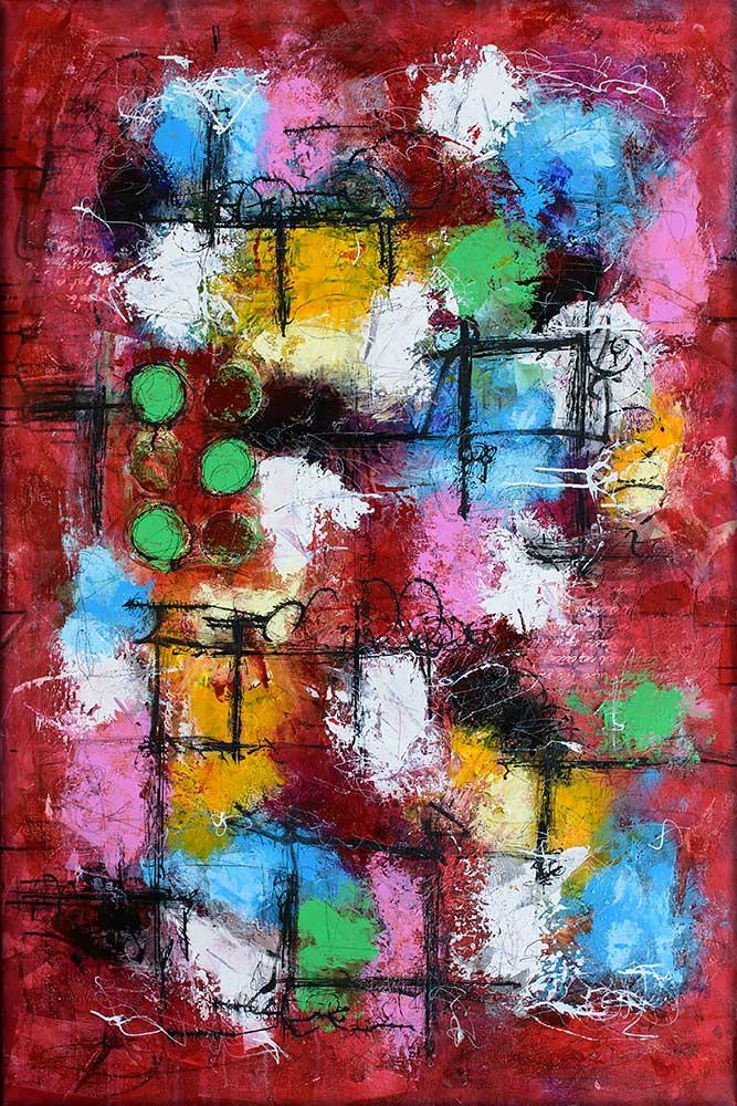 Stort maleri med kraftige farver i et moderne kunstdesign Intuition II 100x150 cm