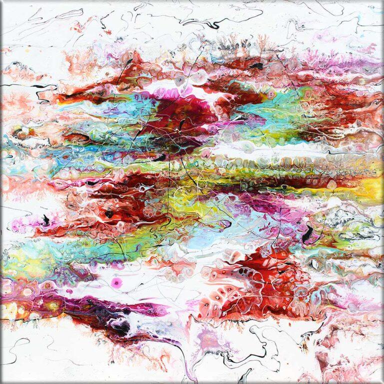 Unikt akrylmaleri med pragtfulde farver i et aktuelt kunstdesign Alliance I 80x80 cm