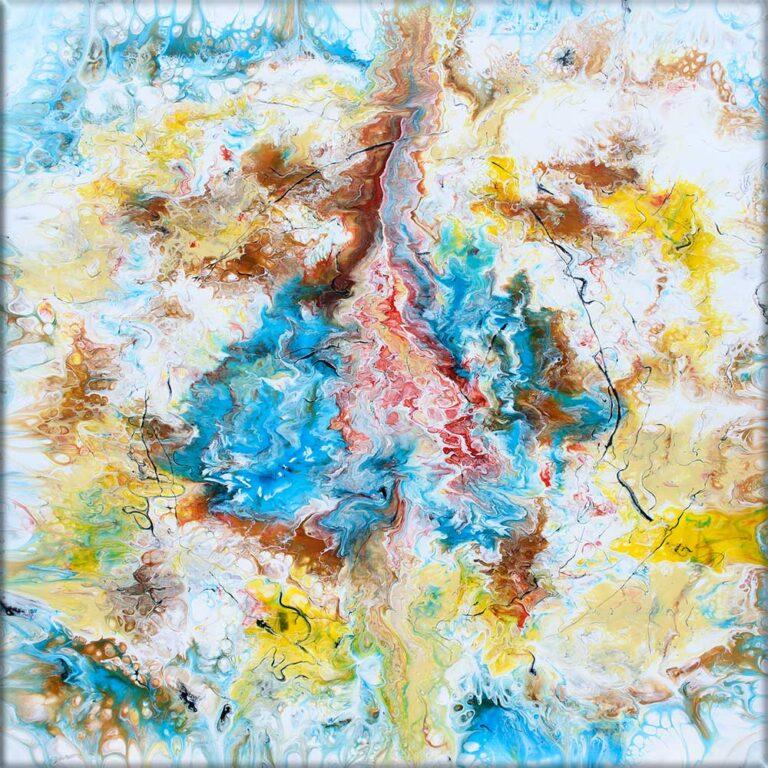 Moderne kunst maleri i abstrakt design med utallige flotte detaljer Pulse V 100x100 cm