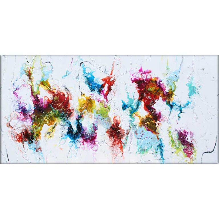 Stort abstrakt maleri i flotte stærke farver til hjemmet Stellar IV 70x140 cm